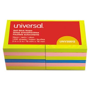 Universal Pop-Up Notes, 3 x 3, 4 Neon Colors, 12 100-Sheet Pads (UNV35617)