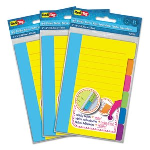 Divider Sticky Notes with Tabs, Assorted Colors, 3 Sets (RTG10245)