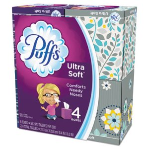 Puffs Ultra Soft Facial Tissue, 2-Ply, White, 56 Sheets/Box, 4/Pack (PGC35295PK)
