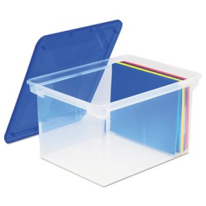Storex Plastic File Storage Box w/Snap-On Lid, Clear (STX61508U01C)