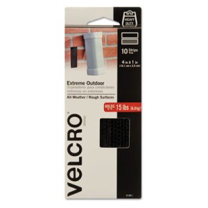 "Velcro Extreme Indoor/Outdoor Fasteners, 1"" x 4"", Black, 10 sets (VEK91841)"