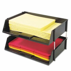 Deflect-o Industrial Stacking Tray Set, Two Tier, Plastic, Black (DEF582704)