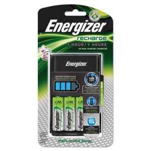 Energizer Recharge 1 Hr Charger, AA or AAA NiMH Batteries (EVECH1HRWB4)