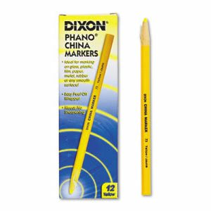 Dixon China Paper-Wrapped Markers, Yellow, 12 Markers (DIX00073)