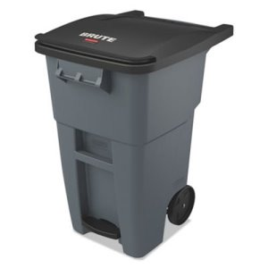 Rubbermaid Brute 50 Gallon Step-On Rollout Trash Can, Gray (RCP1971956)