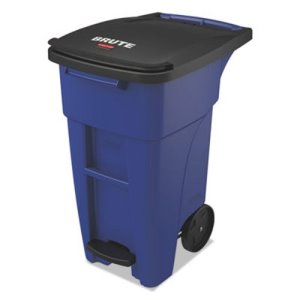 Rubbermaid Brute 50 Gallon Step-On Rollout Trash Can, Blue, Each (RCP1971958)