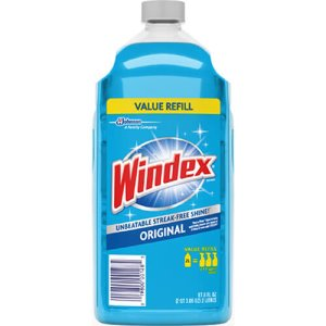 Windex Glass Cleaner with Ammonia-D, 67.6oz Refill, Unscented, 6/Carton (SJN316147)