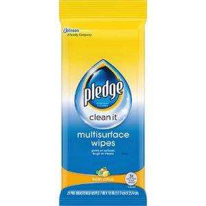 Pledge Multi-Surface Cleaner Wet Wipes, Fresh Citrus, 12 Packs (SJN644080)