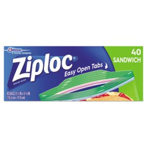 Ziploc Resealable Zipper Sandwich Bags w/ Grip Strip, 40 Bags (SJN315882BX)