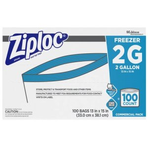 Ziploc 2 Gallon Double Zipper Freezer Bags, 100 Bags (SJN682254)
