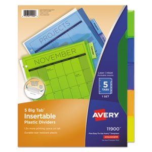Avery WorkSaver Big Tab Plastic Dividers, 5-Tab, Letter, Multicolor (AVE11900)