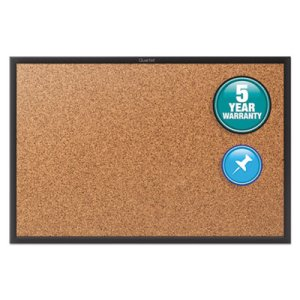 Quartet Cork Bulletin Board with Black Aluminum Frame, 48 x 36 (QRT2304B)