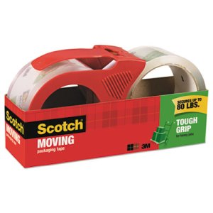 Scotch Tough Grip Moving Packaging Tape, 2 Rolls With Dispenser (MMM350021RD)