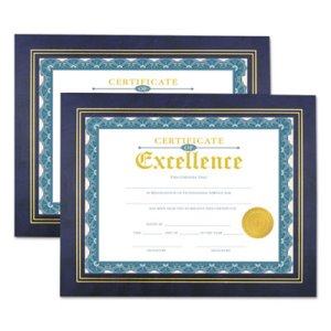 Universal Leatherette Document Frame, 11 x 8-1/2, Blue, 2 Frames (UNV76839)