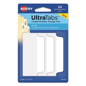 Avery Ultra Tabs Repositionable Tabs, 3 x 1 1/2, White, 24/Pack (AVE74776)
