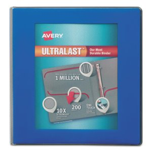 "Avery UltaLast 1"" View Binder with One Touch Slant Ring, Blue/Clear (AVE79740)"