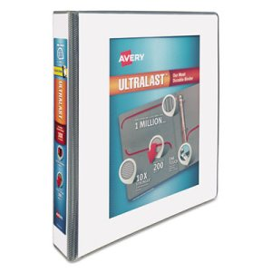 "Avery UltraLast View Binder w/1-Touch Slant Rings, 1 1/2"" Cap, White (AVE79714)"