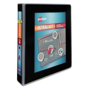 "Avery UltraLast View Binder w/1-Touch Slant Rings, 1 1/2"" Cap, Black (AVE79711)"
