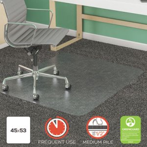 "Deflecto SuperMat Frequent Use Chair Mat, 45"" x 53"", Medium Pile (DEFCM14242COM)"
