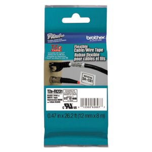 Brother P-Touch Tape Cartridge 1/2in x 26.2ft, Black on White (BRTTZEFX231)