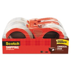 Scotch Commercial Grade Packaging Tape with Dispenser, 4 Rolls (MMM37504RD)