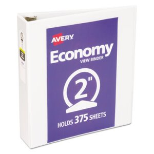 "Avery Economy Vinyl Round Ring View Binder, 2"" Capacity, White (AVE05731)"