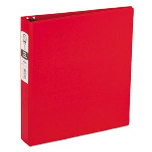 "Avery Economy Round Ring Reference Binder, 1-1/2"" Capacity, Red (AVE03410)"