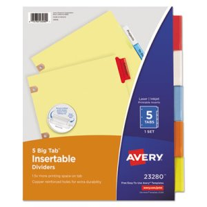 Avery WorkSaver Big Tab Dividers w/CPR Holes, Five Multicolor Tabs (AVE23280)