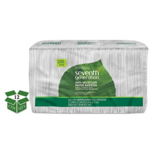 Seventh Generation Recycled 1-Ply White Napkins, 12 Packs (SEV13713CT)