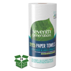 Seventh Generation Kitchen 2-Ply Paper Towel Rolls, 24 Rolls (SEV13722)