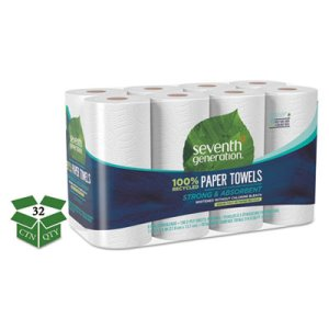 Seventh Generation Kitchen 2-Ply Paper Towel Rolls, White, 32 Rolls (SEV13739CT)