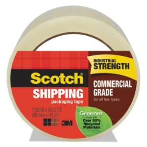 "Scotch Greener Grade Packaging Tape, 1.88"" x 49.2 yd, 3"" Core, 1 Roll (MMM3750G)"