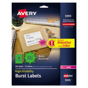 Avery Burst Laser Labels, 2-1/4in dia, Assorted Neon Colors, 180/Pack (AVE5995)