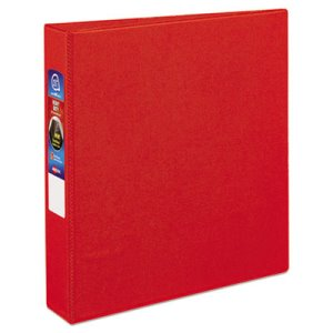 "Avery Heavy-Duty Vinyl Ring Reference Binder, 1-1/2"" Capacity, Red (AVE79585)"