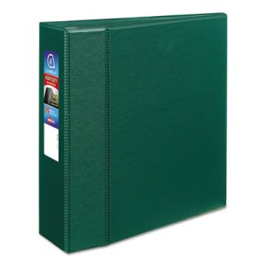 "Avery Heavy-Duty Vinyl EZD Ring Reference Binder, 4"" Capacity, Green (AVE79784)"