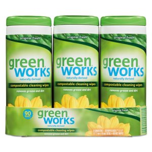 Green Works Compostable Cleaning Wipes, 3 Canisters (CLO30655)