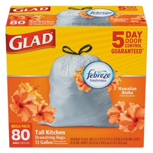 Glad 13 Gallon White Garbage Bags, 24x27, 0.95 mil, 80 Bags (CLO78901BX)