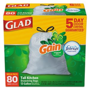 Glad 13 Gallon White Garbage Bags, 24x27, 0.95 mil, 80 Bags (CLO78900BX)