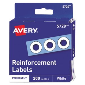 "Avery Hole Reinforcements, 1/4"" Diameter, White, 200/Pack (AVE05729)"