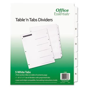 Office Essentials Table 'N Tabs Dividers, 5-Tab, 1-5, White, 1 Set (AVE11666)