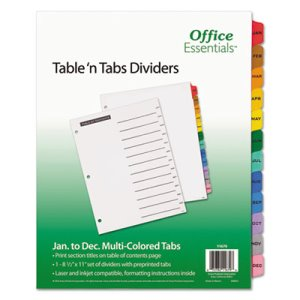 Office Essentials Table 'N Tabs Dividers, Months, Letter, 1 Set (AVE11679)