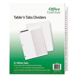 Office Essentials Table 'N Tabs Dividers, 1-31, Letter, White, 1 Set (AVE11680)