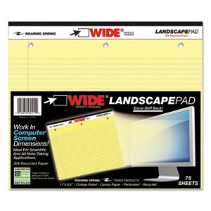 Landscape Format Writing Pad, College Ruled, Canary, 75 Sheets/Pad (ROA95511)