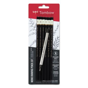 Tombow Mono Drawing Pencil Set with Eraser, 2 mm, Bk Lead, 6 Pencils (TOM61002)