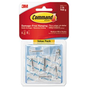 Command Clear Hooks & Strips, Medium, 6 Hooks & 8 Strips (MMM17065CLRVPES)