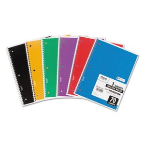"Mead Spiral Notebook, College Rule, 10-1/2"" x 8"", 70 Pages, 6 Books (MEA73065)"