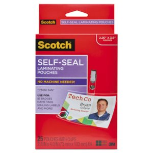 Scotch Self-Sealing Laminating Pouches, 12.5 mil, ID Size, 25/Pack (MMMLS852G)