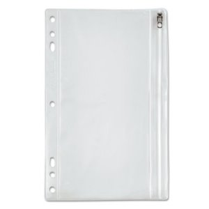 Oxford Zippered Ring Binder Pouche, 6 x 9-1/2, Clear/White (OXF68599)