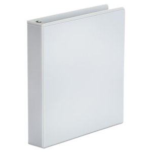 "Universal Round Ring Vinyl View Binder, 1-1/2"" Capacity, White (UNV20972)"