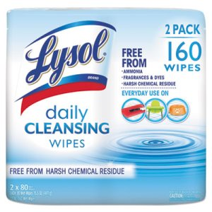 "Lysol Brand Daily Cleansing Wipes, 8"" x 7"", 80 Wipes/Can, 2 Cans (RAC99255PK)"